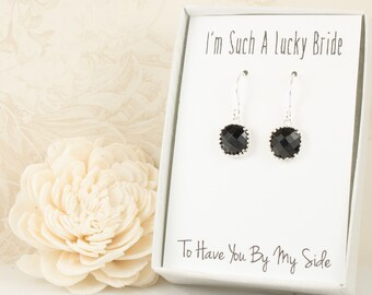Black Silver Square Earrings, Silver Black Earrings, Bridesmaid Gift, Wedding Jewelry, Bridesmaid Earrings, Black Bridal Accessories
