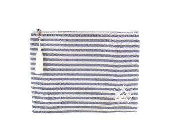 Kit Foutfouta cloth dark blue fouta - of cotton yarns white Pompom (tassel)