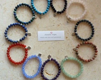 Gemstone Crystal Healing Star Sign Zodiac Bracelets Power Bead