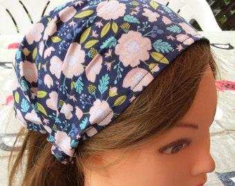 Navy pink floral child bandana, baby girl headscarf, toddler headband, wide headband, toddler hair wrap, baby bandana pool sports danse gift