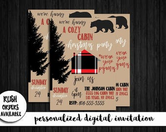 Cozy Cabin Christmas Party Invitation / Cabin Party Invitation / Christmas Party Invitation / Digital / Personalized / Custom / Printable