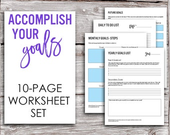 Printable Goals Worksheet Set - Yearly, Monthly, Daily, and Future Goals