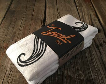 Mustache shaving towel - Soft Terry Velour with Print, Mens Gift