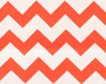 Handmade Bright Orange White Chevron Fitted Crib Sheet