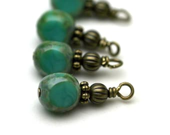 Vintage Style Czech 3 Sided Turquoise Picasso Bead Dangle Charm Drop Set - 4 Piece