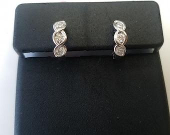 14K White Gold and Diamond Earrings, Infinity Designed Earrings
