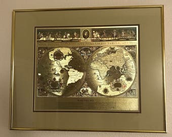 Vintage gold foil map etsy add to added blaeu wall map gumiabroncs