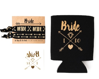 Bride Tribe Bachelorette Gift Set | Metallic Gold Tattoo, Hair Tie + Drink Cooler | Black + Gold Boho Arrow Tribal Bachelorette Party Favors