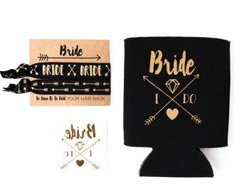 Bride Tribe Bachelorette Gift Set | Metallic Gold Tattoo, Hair Tie + Drink Cooler | Black + Gold Boho Arrow Tribal Bachelorette Party Favors
