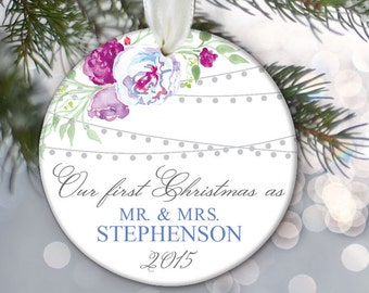 Our First Christmas as Mr & Mrs Christmas Gift Hanging lights Floral Personalized Christmas Ornament Bridal Shower Gift Purple blue OR776