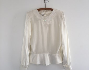 Vintage 80's White Satin Pearl Blouse M