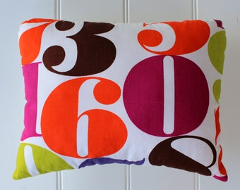 Lucky Number Pillow - Vintage Fabric Pillow - 60 - Rare Mid-Century Fabric - One of a Kind - Mod Decor