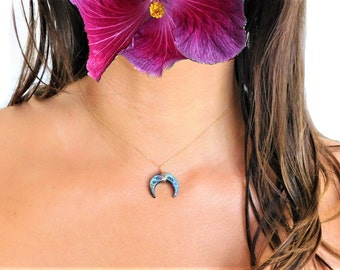 Abalone Shell Necklace, Paua Shell Necklace, Abalone Crescent Necklace, Paua Crescent Necklace, Abalone Moon Necklace, Paua Moon Necklace