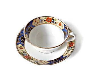 Bone China Cup and Saucer/Vintage Melba, England / Red and Blue Flowers on White English China