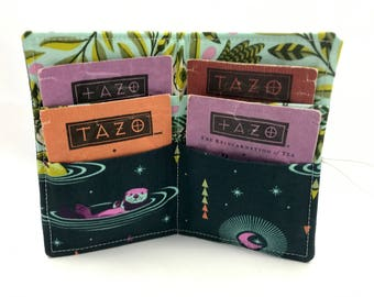 Tea Wallet Tea Bag Wallet - Tea Bag Case Tea Bag Holder - Tea Holder Tea Bag Cozy Tea Bag Organizer Tula Pink Otter Lunar Glow