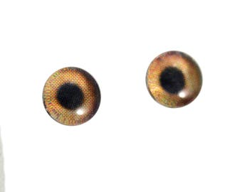 6mm Dog Glass Eyes - Light Brown Animal Eyes - Pair of Glass Eyes for Doll, Sculpture, Taxidermy or Jewelry Making - Set of 2