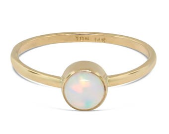 Gold White Opal Ring - Opal Engagement Ring - Opal Promise Ring - Promise Ring for Her - Minimalist Ring - Opal Ring Gold - Mothers Day Gift