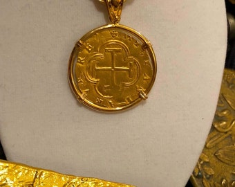 SPAIN 2 ESCUDOS 1556 COB coin pendant treasure doubloon gold pirate shipwreck