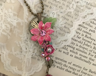 Vintage repurposed jewelry, key pendant, vintage assemblage, OOAK, upcycled, vintage floral necklace, redesigned, pink enamel flowers