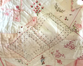 Baby Blanky, pink handkerchiefs, soft crib quilt for baby, vintage hankies, pink and white, flowers, embroidered roses. Soft cotton