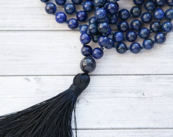 Blue Mala Necklace, Blue Lapis necklace, long Handknotted necklace, long blue tassel necklace / 108 beads