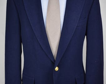 Polo University Club Solid Navy Blue 100% Wool Two Button Blazer Men's Size: 40R