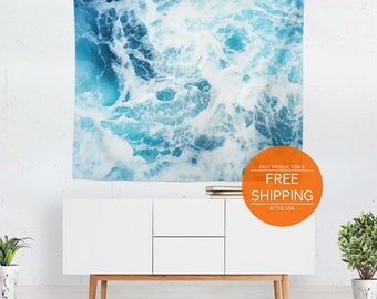 Ocean tapestry, nature wall hanging, home decor, sea waves