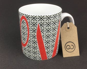 Beautiful, stylish and utterly unique 'CTRLX' ceramic coffee mug. By The Good Continuation Design Company.