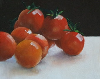 Small tomato painting, food painting, oil painting