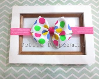 Baby Bow Headband,Baby girl headband,toddler headband,baby hair bow,polka dot baby bow headband