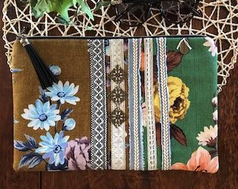 Floral Mix Bark Cloth Clutch Purse
