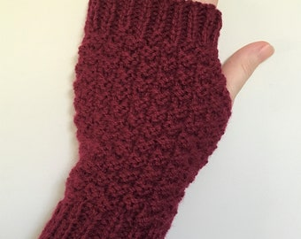 Women's Hand Warmers - Cranberry Weave