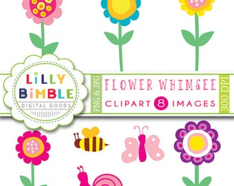 Whimsical flowers clipart for cards, invites, snail bumblebee, clip art, Flower Whimsee, INSTANT DOWNLOAD