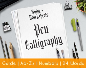 Gothic Calligraphy | 33 Pratice Sheets| Printable Worksheets | guide for beginner | Learn Calligraphy | Brush Hand Lettering Workbook |P4