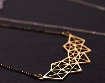 Geometry necklace, black and matte gold chain gold and black beads, pendant lasercut, plating gold high quality