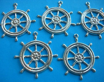 LOT 5 METALS CHARMS Silver: bar of boat 25mm