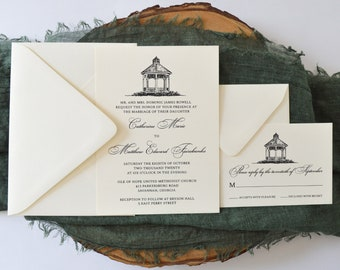 Gazebo Ivory and Black Wedding Invitation Set - Elegant Wedding - Outdoor - Beach - Southern Belle - Southern Wedding - Southern Charm