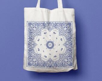 Tote Bag Bandana - cotton bag, canvas bag, beach bag, blue pattern, California style, graphic, geometric, symmetrical, gift idea
