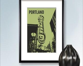 Portland print, Poster, Wall art, Portland skyline, Oregon cityscape, City poster, Typography art Home Decor