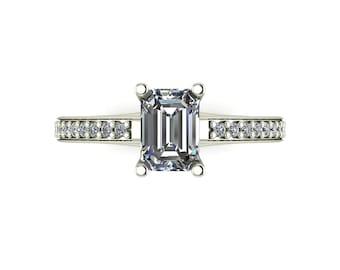 Emerald Moissanite Engagement Ring in 9 Carat White Gold