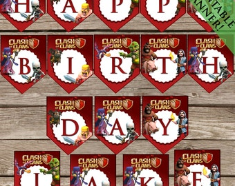 Personalized Clash of Clans Birthday Banner! Printable Party Decoration! Digital Download!