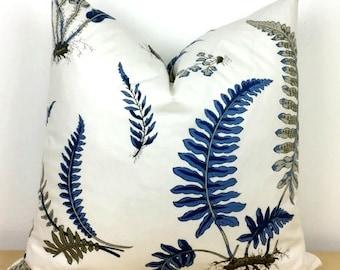 Blue Fern Botanical Print Pillow Cover - Navy and White -  G P & J Baker  - Choose 1 SIDED OR 2 SIDED  - Designer