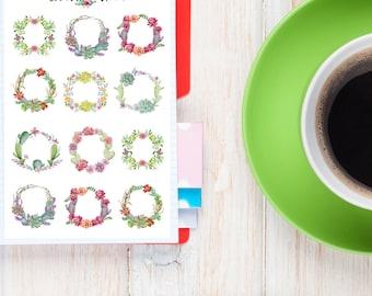 Aquarelle succulentes couronnes Planner Stickers | Stickers plantes grasses | Stickers de cactus | Stickers aquarelle | Couronnes de fleurs (S-262)