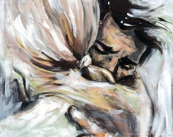 Wedding art print, 8x12, 16x12, A4, A3, select size, canvas sheet, hugging couple,  it will be alright