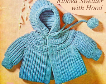 Baby Knitting Pattern, Baby Sweater Knitting Pattern with Hood,, Baby Gift Idea, INSTANT Download Pattern PDF (2306)