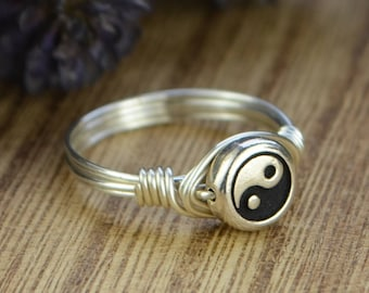 Yin Yang Wrapped Ring- Sterling Silver, Yellow or Rose Gold Filled Wire with Silver Plated Bead -Size 4 5 6 7 8 9 10 11 12 13 14 1/4 1/2 3/4