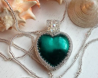 Silver Beaded Teal Heart Pendant Necklace