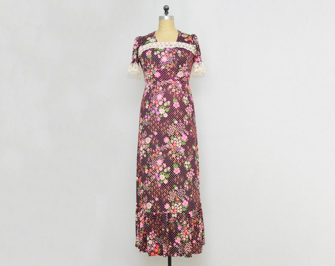 Vintage 1960s Plum Polka Dot Floral Maxi Dress - Size Small