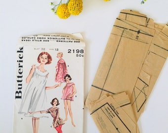 Butterick 1970's sewing pattern, lingerie pattern, 2198 pattern, woman's lingerie sewing patterns, sewing accessories, seamstress gift