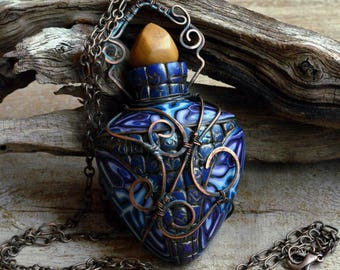 Blue necklace Large pendant Chain necklace Exclusive jewelry Fairytale Gift Inspiration jewelry Aromatherapy pendant Fantasy necklace